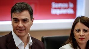 Pedro Sánchez y Adriana Lastra, el pasado 12 de marzo en la sede del PSOE.