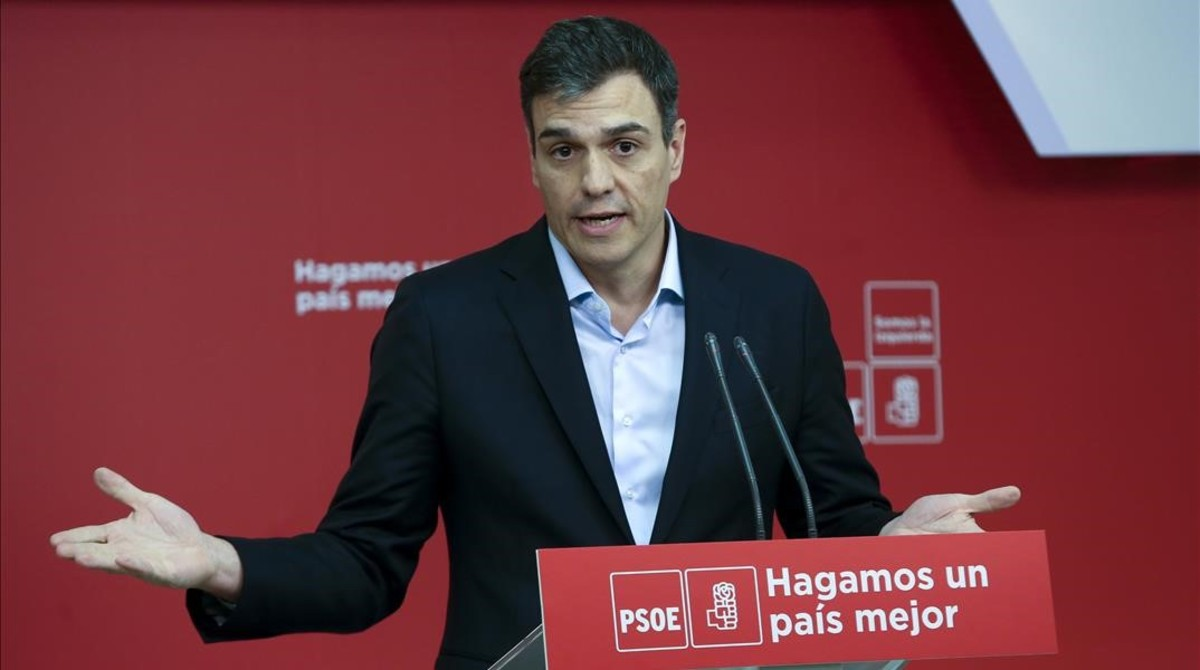 Pedro Sánchez, este miércoles en la sede del PSOE, durante la presentación de su alternativa a los Presupuestos del 2018.
