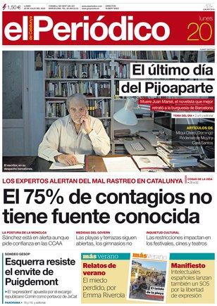 La portada de EL PERIÓDICO del 20 de julio.