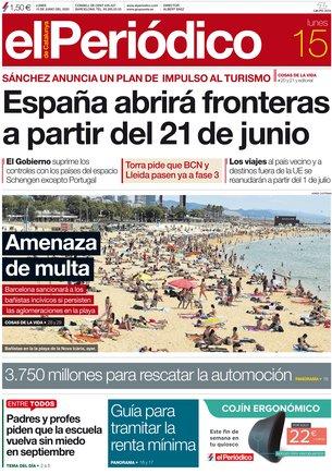 La portada de EL PERIÓDICO del 15 de junio del 2020.