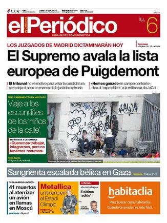 La portada de EL PERIÓDICO del 6 de mayo del 2019