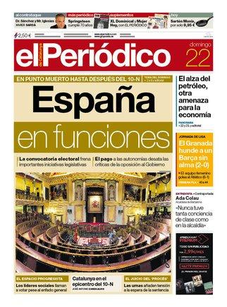 La portada de EL PERIÓDICO del 22 de septiembre del 2019.