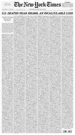 La portada de 'The New York Times' del domingo 24 de mayo del 2020