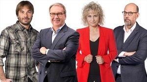 Quim Masferrer, Josep Cuní, Mònica Terribas y Jordi Basté, presentadores de 'La Marató' del 2019.