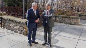 Quim Torra y el alcalde de Boise (Idaho), Dave Bieter, durante la reunión que han mantenido este domingo.
