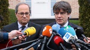 Quim Torra y Carles Puigdemont, este viernes, en Waterloo.