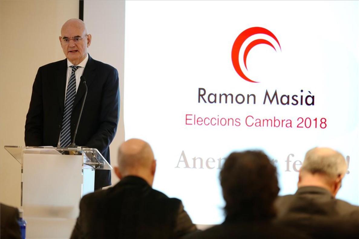Ramon Masià presenta su candidatura a la presidencia de la Cambra de Comerç de Barcelona.