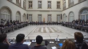 Reunión del Pacte Nacional pel Referèndum, el pasado 1 de febrero en el Parlament.