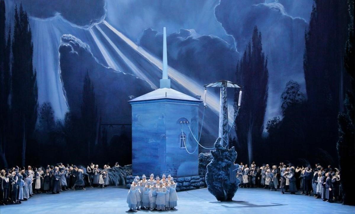 Una escena de Lohengrin, de Richard Wagner, enla nueva producción del Festival de Bayreuth,