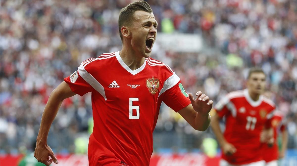 Cheryshev celebra su segundo gol ante Arabia.