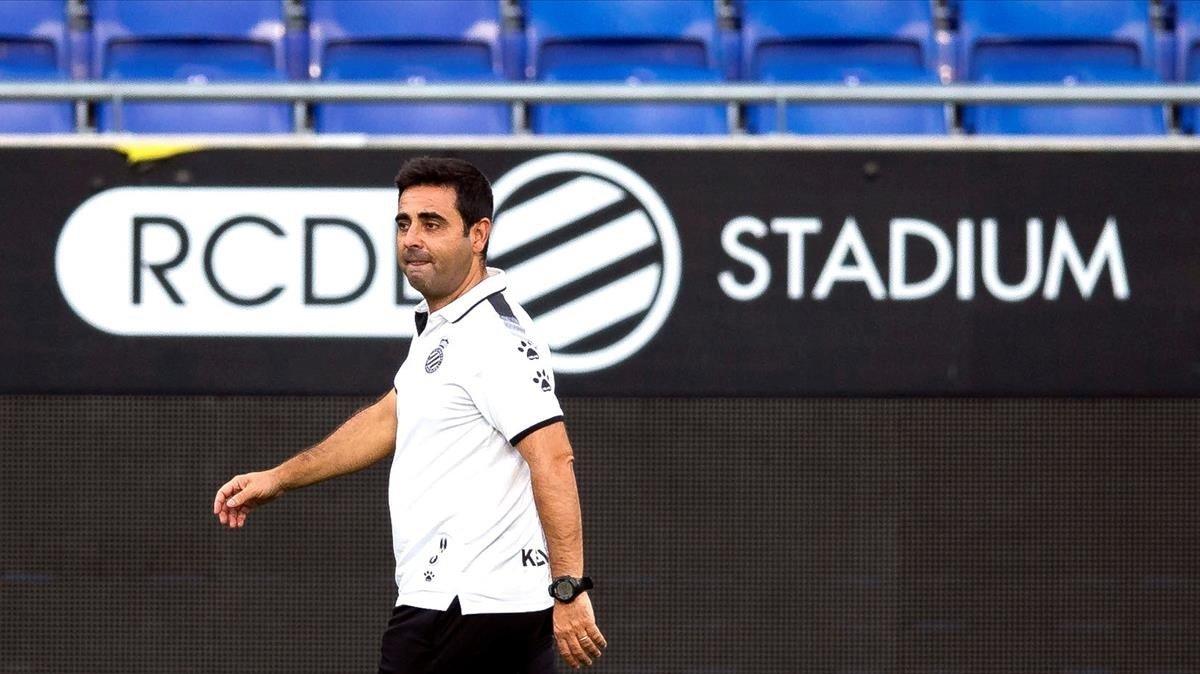 David Gallego, en un entrenamiento del Espanyol en Cornellà.