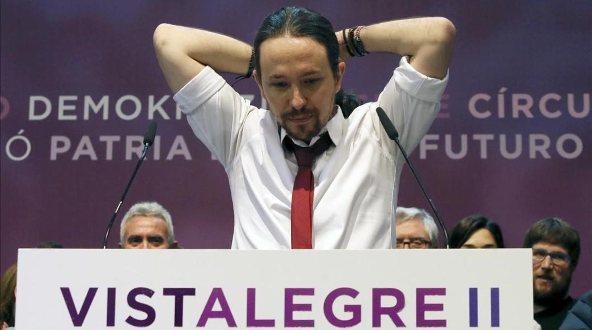 Pablo Iglesias en el escenario de Vistalegre 2 tras conocer su victoria.