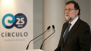 Mariano Rajoy, este lunes en Vigo, durante su intervención en la inauguración de la Asamblea General de Socios del Círculo de Empresarios de Galicia en Vigo.