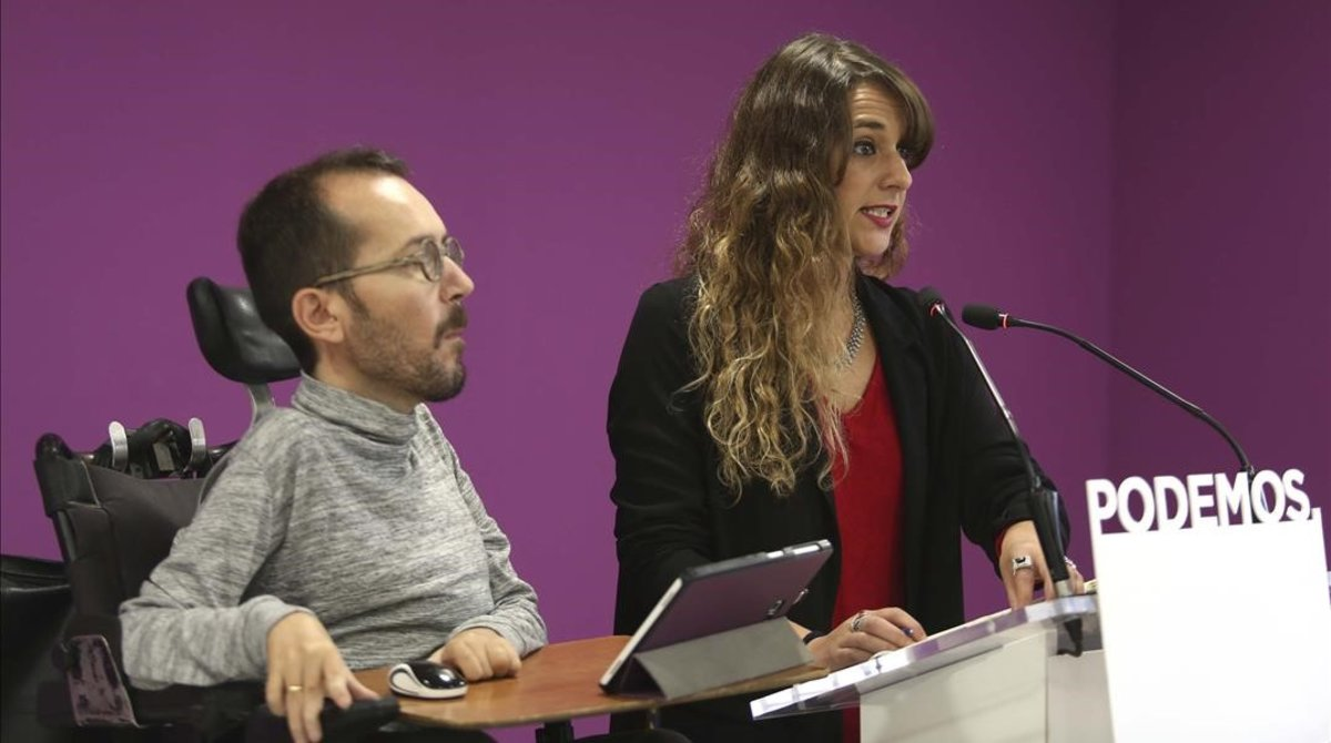 Rueda de prensa tras el Consejo de Coordinación de Podemos a cargo de sus portavoces, Pablo Echenique y Noelia Vera