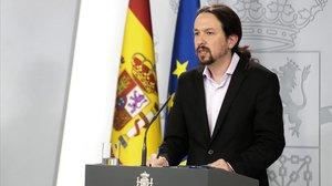El vicepresidente segundo, Pablo Iglesias, durante su comparecencia desde la Moncloa.