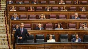 Pedro Sánchez y el grupo socialista, durante el pleno de este miércoles.