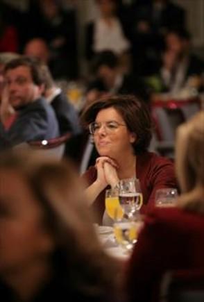 La vicepresidenta Soraya Sáenz de Santamaría, ayer por la mañana, en Madrid.