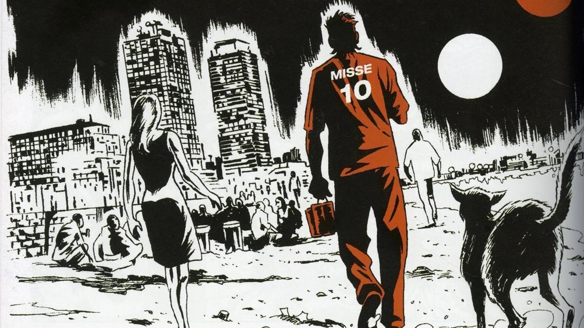 Viñeta de BCN Noire, de la historieta de Salva Rubio y Diego Olmos.