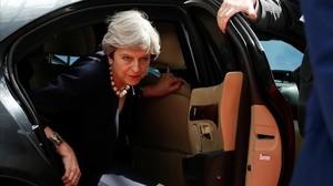 La primera ministra británica, Theresa May, llega a la cumbre del Consejo Europeo, este jueves 22 de junio en Bruselas.