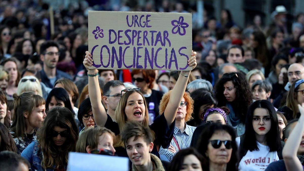 Manifestación feminista en Madrid para protestar contra la sentencia del caso de la Manada, el pasado viernes.
