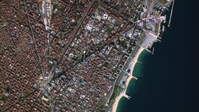 Vista de Barcelona captada desde uno de los microsatélites de Satellogic
