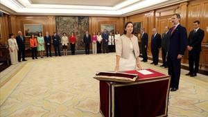 La ministra de Industria, Reyes Maroto, en el acto de toma de posesión de su cargo hace unos días.