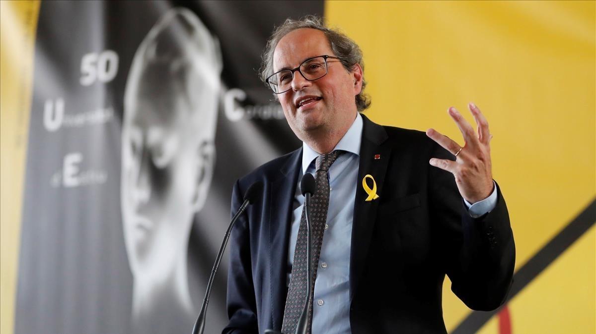 Torra rebutja avançar eleccions i anuncia un pacte amb ERC sobre els diputats suspesos