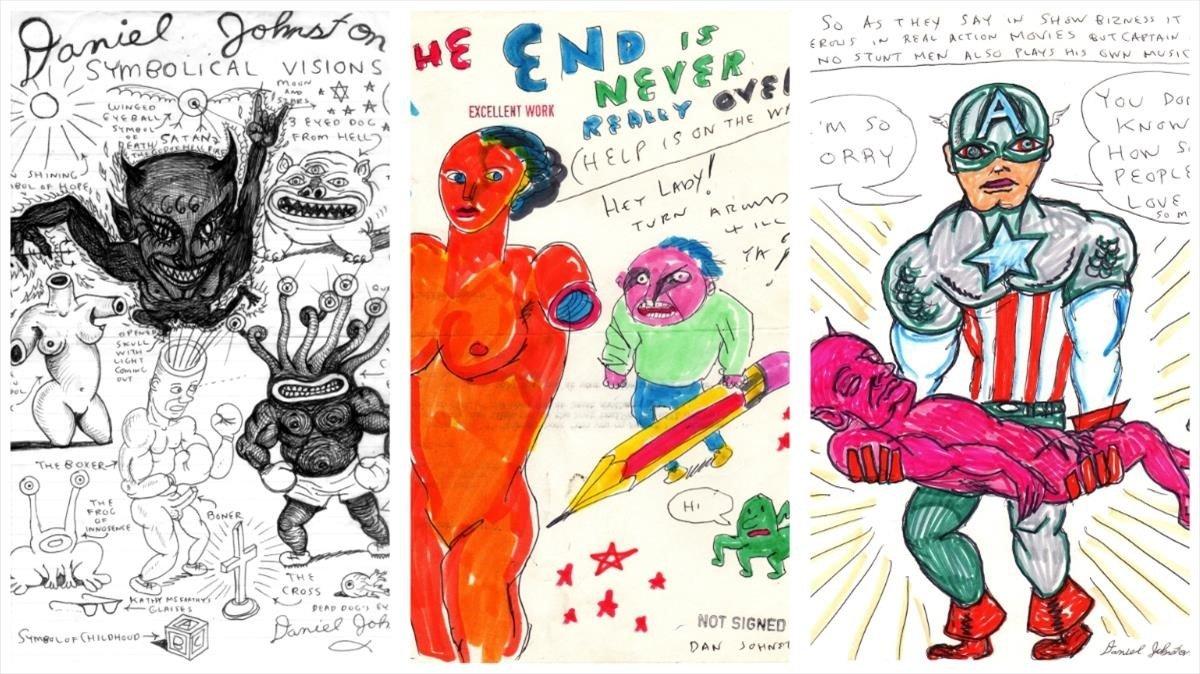 Dibujos de Daniel Johnston que se mostraron en la exposición 'Visiones simbólicas.Una mirada al universo de Daniel Johnston'.