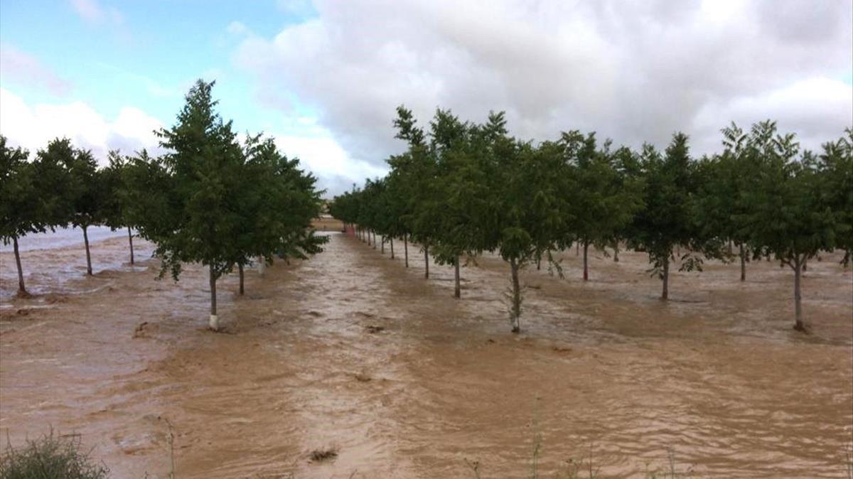 Inundaciones en la localidad de Caudete (Albacete) tras el paso de la Gota Fría por la región