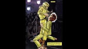 Ilustración que reproduce un momento icónico de la actuación de Bowie en Oxford el 17 de junio de 1972.