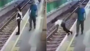 Un hombre arroja a una mujer a las vías del metro de Hong Kong.