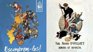El cartel de la campaña de la CUP Barrámoslos, junto al de Lenin, en el que se inspira el de los cupaires.