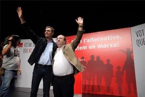Pedro Sánchez y Miquel Iceta en Badalona.