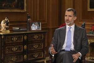 El rey Felipe VI, durante su intervención televisada.