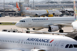 Air France passenger jets are seen on the tarmac of Orly Airport