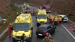 Accidente en la C-14 en Bassella (Lleida)