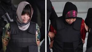 Lavietnamita Doan Thi Huong y la indonesia Siti Asiyah salen escoltadas por la policía del Tribunal Superior de Shah Alam en Indonesia.