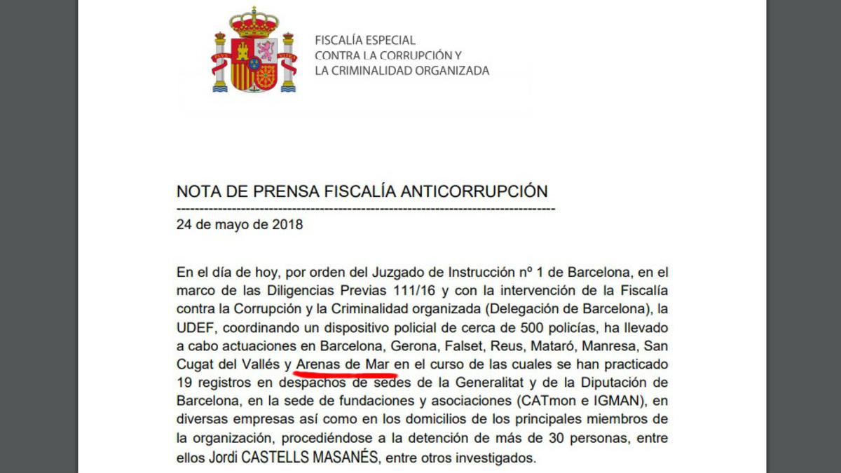 La nota de la Fiscalía Anticorrupción en la que aparece el pueblo Arenas de Mar