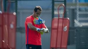 Bravo, en el entrenamiento previo al duelo con el Betis.