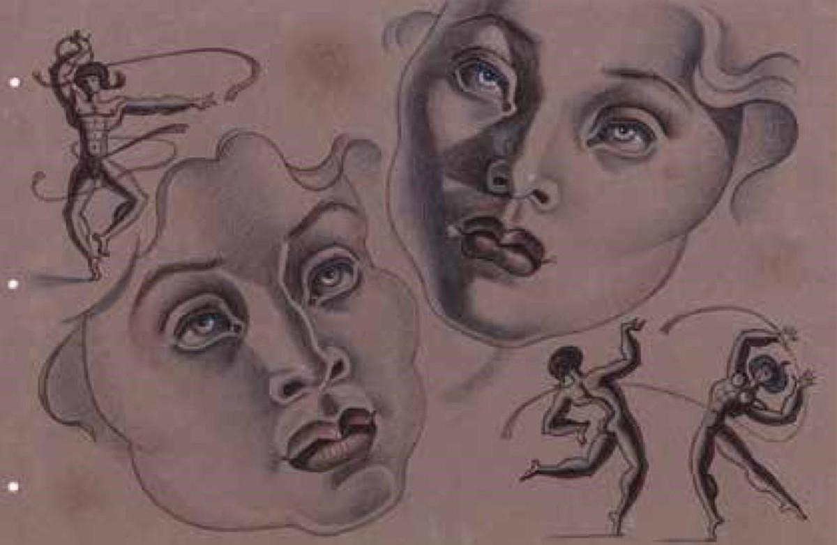 'Cabezas y atletas' (1945), de Maruja Mallo, en la exposición 'Mujeres surrealistas' de la galería Mayoral.