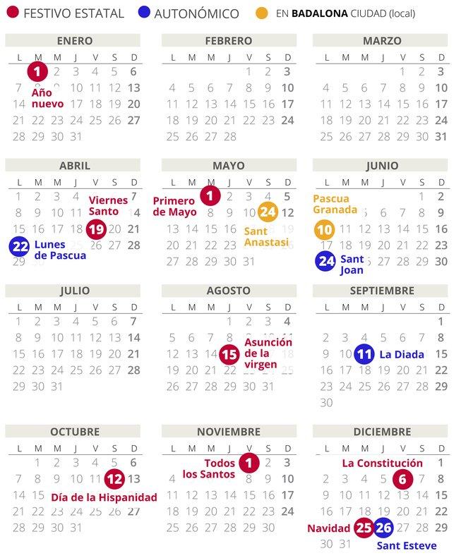 Calendario laboral de Badalona del 2019.