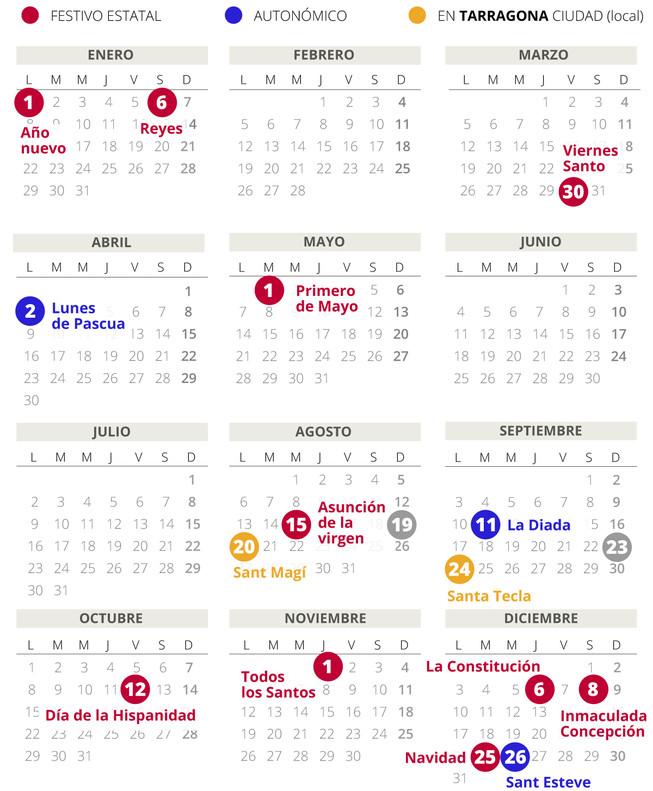 Calendario laboral de Tarragona del 2018.