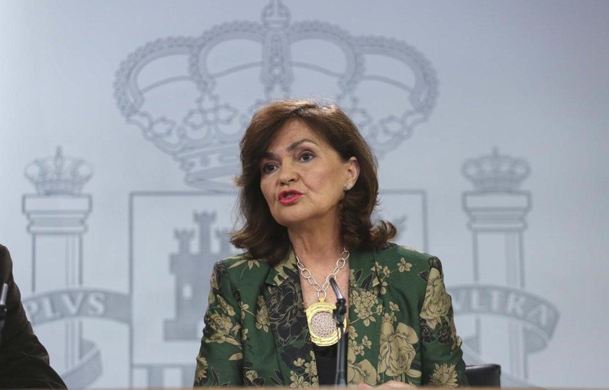 Carmen Calvo, en la rueda de prensa posterior al consejo de Ministros.