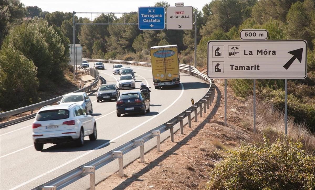 La carretera N-340 a la altura de Altafulla.