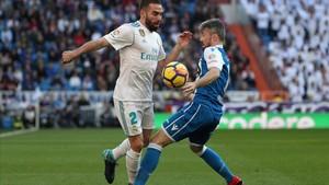 Carvajal, en el partido entre el Madrid y el Deportivo.