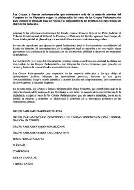 Comunicado de la mayoría de grupos parlamentarios a favor de la renovación del CGPJ.