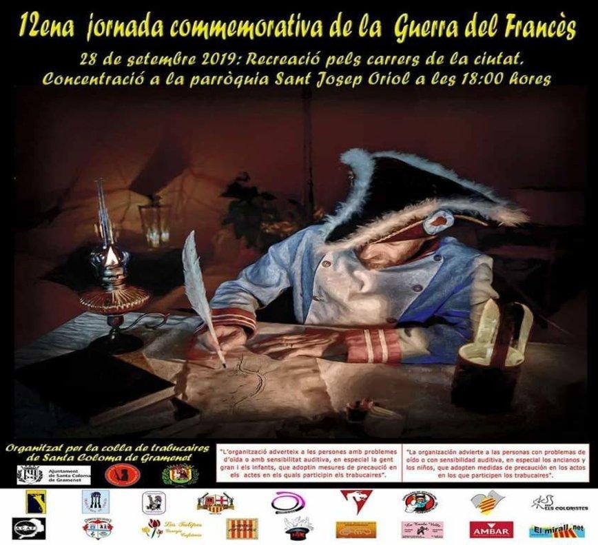 Cartel de la jornada conmemorativa de la Guerra del Francés en Santa Coloma.
