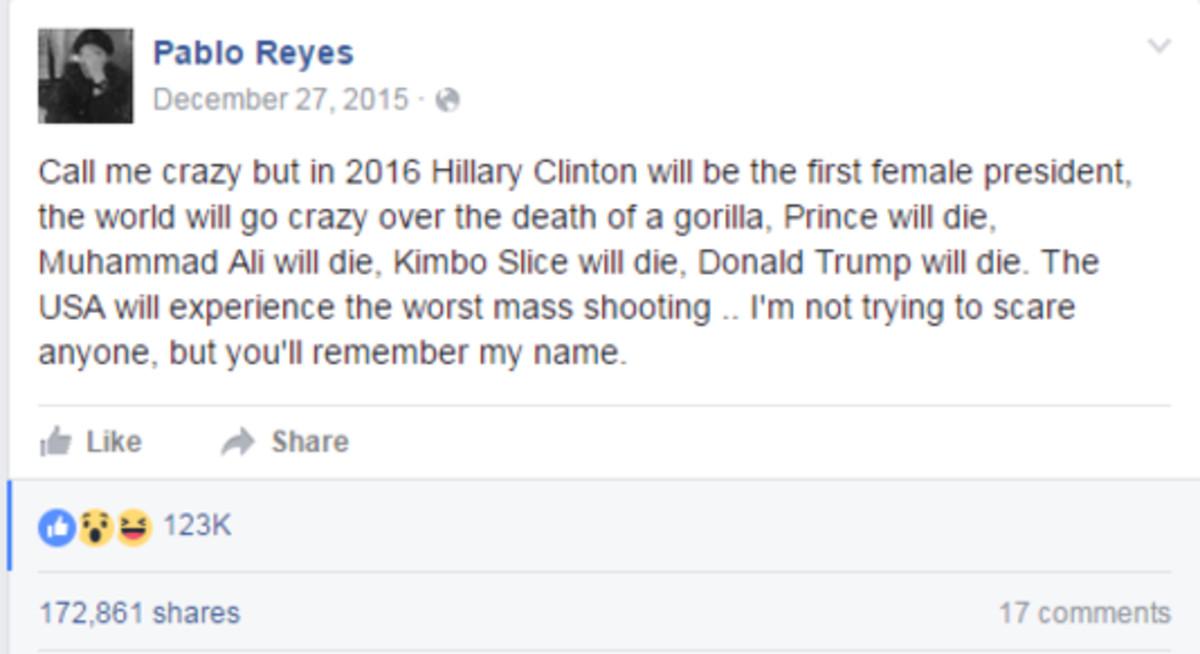 Falsa predicción de la matanza de Orlando editadapor un usario de Facebook que se ha compartido cerca de 170.000 veces.