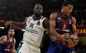 Gist (Panathinaikos) y Pressey (Barça), en un duelo de la Euroliga.