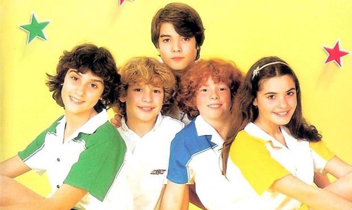 Gemma, David, Tino, Frank y Yolanda, el grupo musical infantil Parchís, en una fotografía de los años 80.